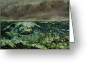 Rough-seas Greeting Cards - The Wave Greeting Card by Gustave Courbet