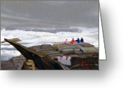 New England Seascape Greeting Cards - The Wave Watchers Greeting Card by Dominic White