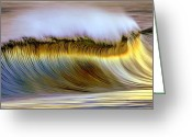 Photography Pyrography Greeting Cards - The Wave Greeting Card by Zarija Pavikevik