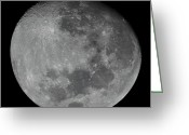 Lunar Mare Greeting Cards - The Waxing Gibbous Moon In A High Greeting Card by Luis Argerich