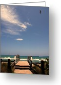 Puffy Greeting Cards - The way out to the beach Greeting Card by Susanne Van Hulst