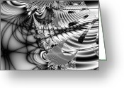 Mandelbrot Greeting Cards - The Web We Weave . Square Greeting Card by Wingsdomain Art and Photography