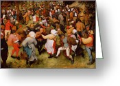 The Kiss Greeting Cards - The Wedding Dance Greeting Card by Pieter the Elder Bruegel