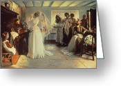 Veil Greeting Cards - The Wedding Morning Greeting Card by John Henry Frederick Bacon