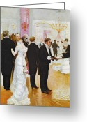 Waiter Greeting Cards - The Wedding Reception Greeting Card by Jean Beraud