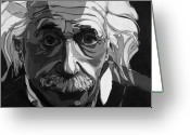 Albert Einstein Greeting Cards - The Weight of Genius Greeting Card by John Gibbs