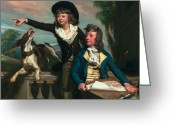 Pointing Painting Greeting Cards - The Western Brothers Greeting Card by John Singleton Copley