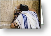 Western Clothing Greeting Cards - The Western Wall, Jewish Man Wearing Greeting Card by Richard Nowitz