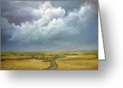 Storm Prints Greeting Cards - The Wheat Field Greeting Card by Luczay