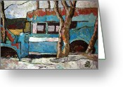Contrasts Greeting Cards Greeting Cards - The Wheels Of The Bus Stopped Greeting Card by Charlie Spear