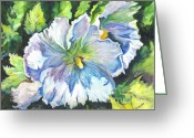 Hibiscus Tropical Drawings Greeting Cards - The White Hibiscus in Early Morning Light Greeting Card by Carol Wisniewski
