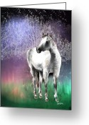 White White Horse Digital Art Greeting Cards - The White Horse Greeting Card by Arline Wagner
