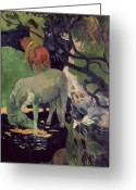 Gauguin; Paul (1848-1903) Greeting Cards - The White Horse Greeting Card by Paul Gauguin