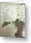 Vase Of Flowers Greeting Cards - The White Hydrangea Greeting Card by Lisa Russo