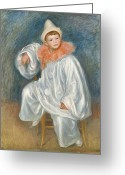 Clowns Portrait Greeting Cards - The White Pierrot Greeting Card by Pierre Auguste Renoir