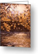 Indiana Autumn Greeting Cards - The White River in October Greeting Card by Addie May Hirschten