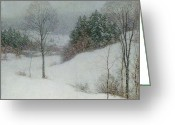 Winter Scenes Photo Greeting Cards - The White Veil Greeting Card by Willard Leroy Metcalf