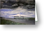 Landing Painting Greeting Cards - The White Vulcan Greeting Card by Mike Lester