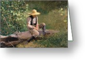 Straw Hat Greeting Cards - The Whittling Boy Greeting Card by Winslow Homer