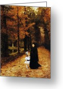 Tree Lines Greeting Cards - The Widow Greeting Card by Horace de Callias