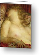 Nudes Greeting Cards - The Wife of Plutus Greeting Card by George Frederic Watts