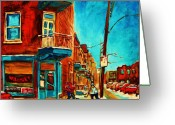 Hockey Street Scenes In Montreal Greeting Cards - The Wilensky Doorway Greeting Card by Carole Spandau