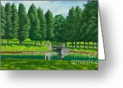 New York City Painting Greeting Cards - The Willow Path Greeting Card by Charlotte Blanchard
