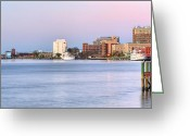 Ports Greeting Cards - The Wilmington Skyline Greeting Card by JC Findley