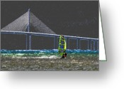 Florida Bridge Digital Art Greeting Cards - The Wind Surfer Greeting Card by David Lee Thompson