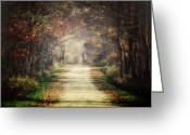 Cottage Chic Greeting Cards - The Winding Road Greeting Card by Lisa Russo