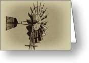 Weather Vane Greeting Cards - The Windmills of My Mind Greeting Card by Bill Cannon