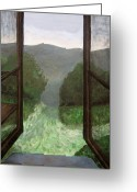 Cabin Window Painting Greeting Cards - The Window Greeting Card by Reb Frost