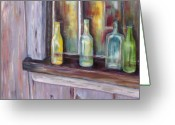 Cabin Window Painting Greeting Cards - The Windowsill Greeting Card by Diane Daigle