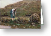 The Glade Greeting Cards - The Winkle Gatherer Greeting Card by John Dawson Watson