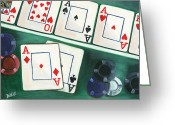 Playing Cards Greeting Cards - The Winner Greeting Card by Debbie DeWitt