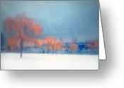 Winter Trees Greeting Cards - The Winter Blues Greeting Card by Tara Turner
