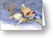Fairy Mixed Media Greeting Cards - The Winter Changeling Greeting Card by Janet Chui