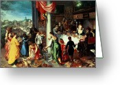 Drapery Greeting Cards - The Winter Feast Greeting Card by Hendrik van the Elder Balen