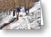 Winter Photos Painting Greeting Cards - The winter park Greeting Card by Odon Czintos