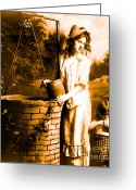 Old Fashion Greeting Cards - The Wishing Well Greeting Card by Tisha McGee
