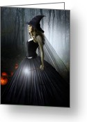 Enchanted Greeting Cards - The Witching Hour Greeting Card by Julie L Hoddinott