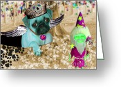 Dogs Greeting Cards - The Wizard Gnome of the forest Greeting Card by Tisha McGee