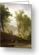 Native American Indians Greeting Cards - The Wolf River - Kansas Greeting Card by Albert Bierstadt