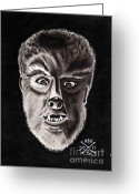 Wolfman Greeting Cards - The Wolfman Greeting Card by Kev G