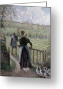 Femme Painting Greeting Cards - The Woman with the Geese Greeting Card by Camille Pissarro