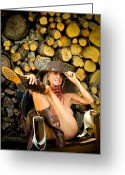 Nudes Photo Greeting Cards - The Wood Pile Greeting Card by N Taylor