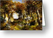 The Glade Greeting Cards - The Woodland Pool Greeting Card by Thomas Moran