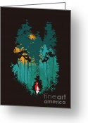 Hood Greeting Cards - The woods belong to me Greeting Card by Budi Satria Kwan