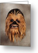 Star Mixed Media Greeting Cards - The Wookiee Greeting Card by Michael Greenaway