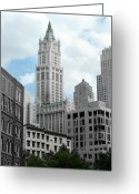 Woolworth Building Greeting Cards - The Woolworth Building - NYC Greeting Card by Frank Mari